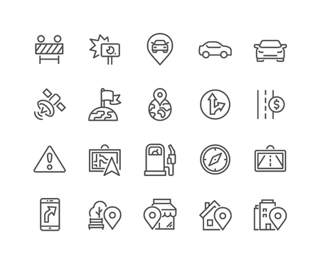 48x48: Simple Set of Navigation Related Line Icons. Contains such Icons as Road Works, Navigator, Direction, POI and more. Editable Stroke. 48x48 Pixel Perfect. Illustration