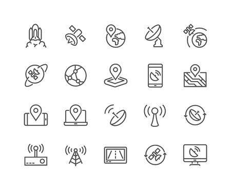 48x48: Simple Set of Satellite Related Line Icons. Contains such Icons as Spacecraft Lunch, Antenna, Map, Dish and more. Editable Stroke. 48x48 Pixel Perfect. Illustration