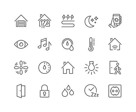 Simple Set of Smart House Related Line Icons. Contains such Icons as Fan Control, Camera, Light Settings, Humidity and more. Editable Stroke. 48x48 Pixel Perfect.