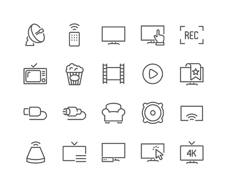 48x48: Simple Set of TV Related Line Icons. Contains such Icons as Screen, Menu, Record and more. Editable Stroke. 48x48 Pixel Perfect. Illustration