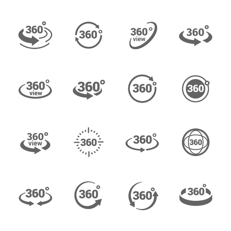 Simple Set of 360 Degree View Related Icons for Your Design. Stock Illustratie