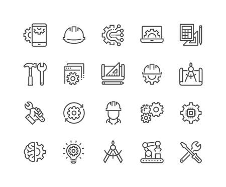 Ensemble simple d'icônes de ligne liées à l'ingénierie. Contient des icônes telles que la fabrication, l'ingénieur, la production, les paramètres et plus encore. Course modifiable. 48x48 Pixel Perfect.