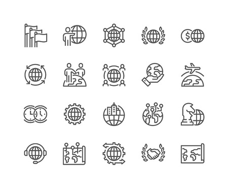 48x48: Simple Set of Global Business Related Line Icons. Contains such Icons as International Partnership, Outsourcing, Branch Office and more. Editable Stroke. 48x48 Pixel Perfect.