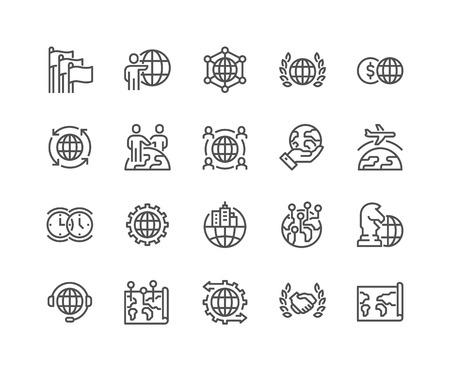 negocios internacionales: Simples de Global Business Line relacionadas iconos. Contiene iconos como Asociación Internacional, subcontratación, Branch Office y más. Stroke editable. 48x48 Pixel Perfect.