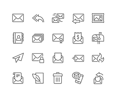 48x48: Simple Set of Mail Related Line Icons. Contains such Icons as Newsletter, Mail Box, Address Book and more. Editable Stroke. 48x48 Pixel Perfect.