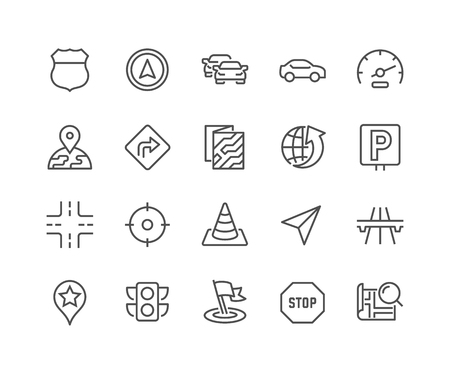48x48: Simple Set of Navigation Related Line Icons. Contains such Icons as Map, Pin, Car, Road, Highway and more. Editable Stroke. 48x48 Pixel Perfect. Illustration