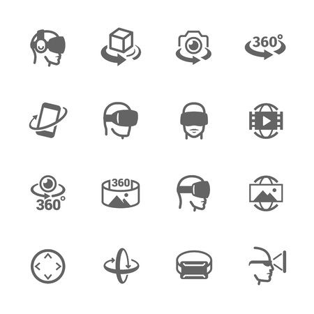 Simple Set of Virtual Reality Related Vector Icons. Contains such Icons as 360 Degree View, Virtual Reality Helmet, Panorama and more.