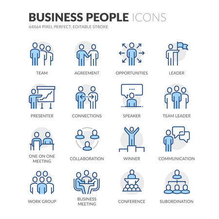 one people: Simple Set of Business People Related Color Vector Line Icons. Contains such Icons as Business Meeting, Handshake, Agreement, One on One Meeting and more. Editable Stroke. 64x64 Pixel Perfect.