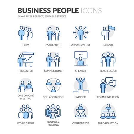 Simples de hombres de negocios relacionados con el color del vector de línea de iconos. Contiene iconos tales como reuniones de negocios, Estrechar las manos, Contrato, uno en una reunión y más. Stroke editable. 64x64 Pixel Perfect.
