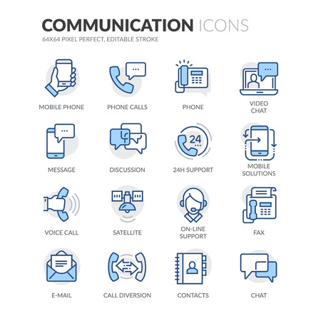 Simple Set of Communication Related Color Vector Line Icons. Contains such Icons as Phone Calls, Video Chat, On-line Support and more. Editable Stroke. 64x64 Pixel Perfect. Ilustração
