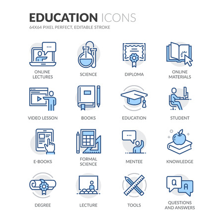 Simple Set of Education Related Color Vector Line Icons. Contains such Icons as Online Education, Video Lesson, Hat, E-books and more. Editable Stroke. 64x64 Pixel Perfect.