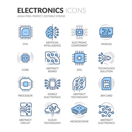 Simples de color relacionado Electrónica lineal del vector iconos. Contiene iconos tales como la CPU, la inteligencia artificial, la tarjeta SIM y más. Stroke editable. 64x64 Pixel Perfect.