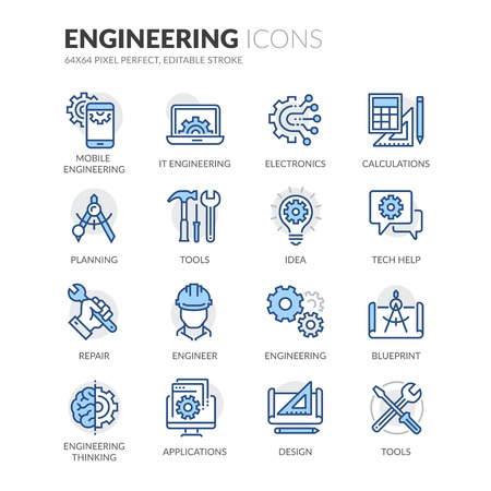 Set simple d'ingénierie connexes couleur vecteur ligne icônes. Contient des icônes telles que les calculs, Blueprint, Ingénieur, conception App et plus. Stroke éditable. 64x64 Pixel Perfect.