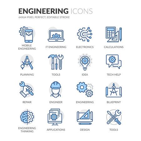 Set simple d'ingénierie connexes couleur vecteur ligne icônes. Contient des icônes telles que les calculs, Blueprint, Ingénieur, conception App et plus. Stroke éditable. 64x64 Pixel Perfect. Banque d'images - 61777313