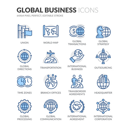 Simple Set of Global Business Related Color Vector Line Icons. Contains such Icons as Global Strategy, Outsourcing, Agreements and more. Editable Stroke. 64x64 Pixel Perfect. Ilustração
