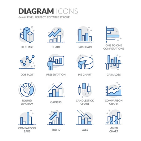 Simple Set of Graph and Diagram Related Color Vector Line Icons. Contains such Icons as Presentation, Pie Chart, Round Diagram, Candlestick Chart and more. Editable Stroke. 64x64 Pixel Perfect.