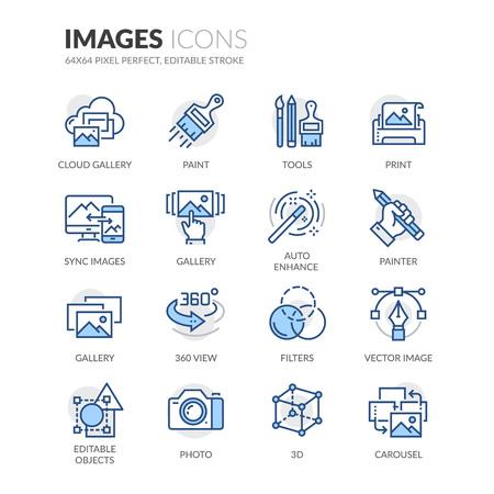 単純な画像関連の色ベクトル線アイコンのセット。360 度ビュー、雲ギャラリー、フィルターなどのアイコンが含まれています。編集可能なストロー