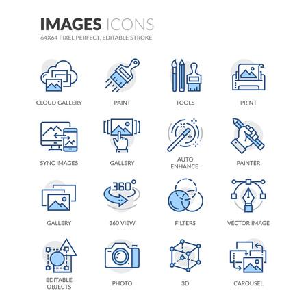 Simple Set of Images Related Color Vector Line Icons. Contains such Icons as 360 Degree View, Cloud Gallery, Filters and more. Editable Stroke. 64x64 Pixel Perfect. Ilustração