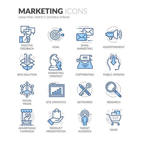 Set simple de marketing connexes couleur vecteur ligne icônes. Contient des icônes telles que le marketing par courriel, Copywriting, Social Media, Solution Box et plus encore. Stroke éditable. 64x64 Pixel Perfect.