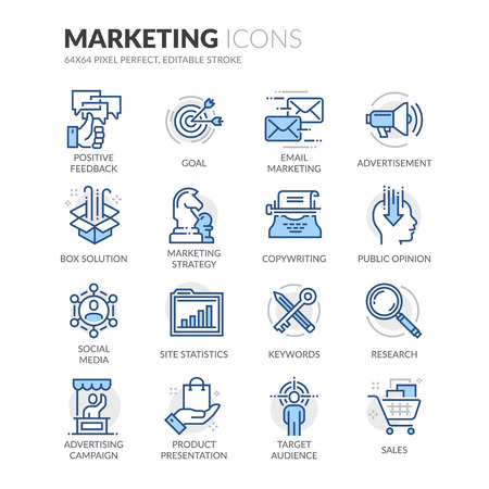 Simple Set of Marketing Related Color Vector Line Icons. Contains such Icons as Email Marketing, Copywriting, Social Media, Box Solution and more. Editable Stroke. 64x64 Pixel Perfect.