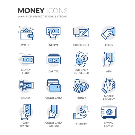 Simple Set of Money Related Color Vector Line Icons. Contains such Icons as Wallet, Credit Card Payment, Money Flow and more. Editable Stroke. 64x64 Pixel Perfect. 版權商用圖片 - 61777317