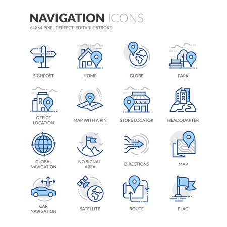 Simple Set of Navigation Related Color Vector Line Icons. Contains such Icons as Store Locator, Office, Home and more. Editable Stroke. 64x64 Pixel Perfect. Ilustração