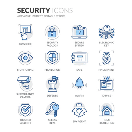 Ensemble simple d'icônes de ligne de vecteur couleur vecteur de sécurité. Contient des icônes comme caméra de surveillance, empreinte digitale, carte d'identité et plus encore. Course modifiable. 64x64 Pixel Perfect.