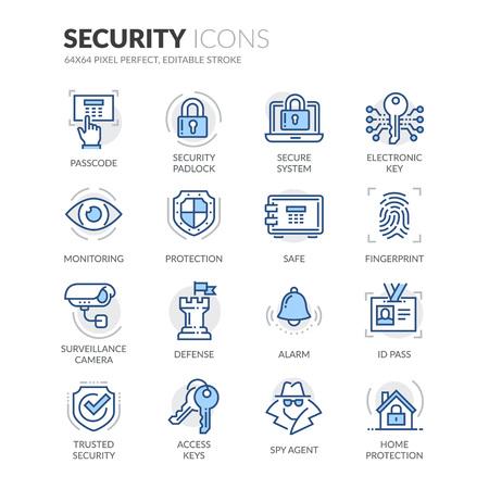 Set semplice di icone della linea vettoriale di colore correlate alla sicurezza. Contiene tali icone come telecamera di sorveglianza, impronte digitali, ID pass e altro ancora. Stroke modificabile. 64x64 pixel perfetto. Archivio Fotografico - 69554333