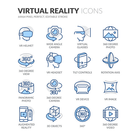 Simple Set of Virtual Reality Related Color Vector Line Icons. Contains such Icons as VR Helmet, 360 Degree Camera, Panoramic Photo and more. Editable Stroke. 64x64 Pixel Perfect. Vectores