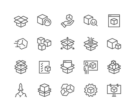 Simple Set of Abstract Product Related Vector Line Icons. Contains such Icons as Unit, Module, Product Release, Presentation and more. Editable Stroke. 48x48 Pixel Perfect. 일러스트