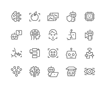 Eenvoudige set van Artificial Intelligence Related Vector Line Icons. Bevat zoals Iconen zoals gezichtsherkenning, Algoritme, Self-learning en nog veel meer. Bewerkbare Stroke. 48x48 Pixel Perfect. Stock Illustratie