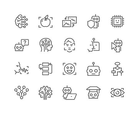 Simples de la línea vector de Inteligencia Artificial Relacionadas iconos. Contiene iconos tales como reconocimiento de la cara, el algoritmo, el autoaprendizaje y más. Stroke editable. 48x48 Pixel Perfect.