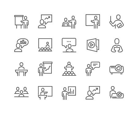 Prosty zestaw ikon wektorowych związanych z prezentacją biznesową. Zawiera takie ikony, jak prezenter, nauczyciel, publiczność i nie tylko. Edytowalny skok. 48x48 pikseli Perfect.