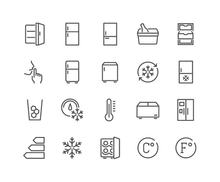 48x48: Simple Set of Fridge Related Vector Line Icons. Contains such Icons as Portable Fridge, Ice Machine, Silence and more. Editable Stroke. 48x48 Pixel Perfect.
