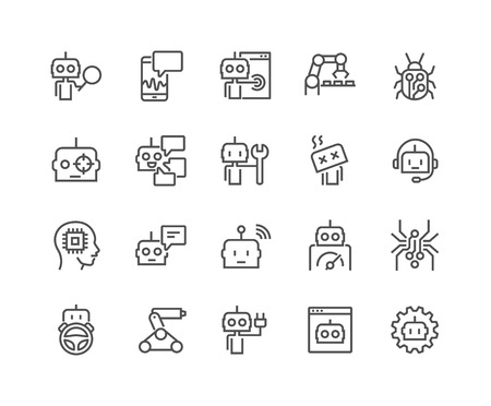 Simple Set of Robots Related Vector Line Icons. Contains such Icons as Autopilot, Chatbot, Broken Bot and more. Editable Stroke. 48x48 Pixel Perfect.