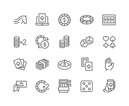 48x48: Simple Set of Gambling Related Vector Line Icons. Contains such Icons as Slot Machine, Roulette, Dice, On Line Poker and more. Editable Stroke. 48x48 Pixel Perfect.