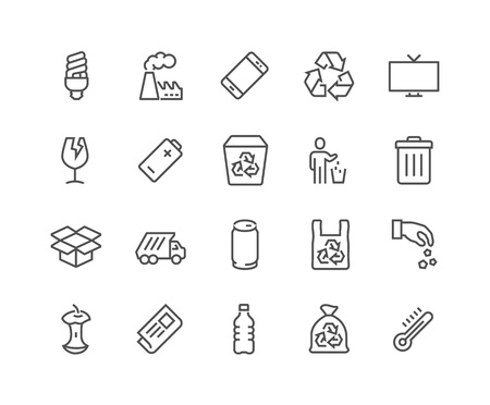 energysaving: Simple Set of Garbage Related Vector Line Icons. Contains such Icons as Cardboard, Organic Waste, Plastic, Aluminium Can and more. Editable Stroke. 48x48 Pixel Perfect.