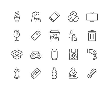 residuos organicos: Simples de la línea vector de basura relacionadas iconos. Contiene iconos tales como cartón, residuos orgánicos, plásticos, latas de aluminio y más. Stroke editable. 48x48 Pixel Perfect. Vectores