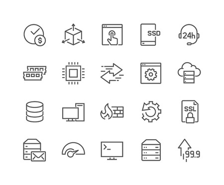 48x48: Simple Set of Hosting Related Vector Line Icons. Contains such Icons as SSD Disk, Control Panel, Traffic, Firewall and more. Editable Stroke. 48x48 Pixel Perfect.