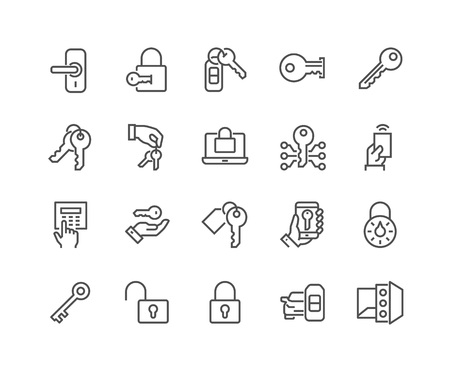 48x48: Simple Set of Keys and Locks Related Vector Line Icons. Contains such Icons as Car Keys, Electronic opener, Pin Pad and more. Editable Stroke. 48x48 Pixel Perfect.