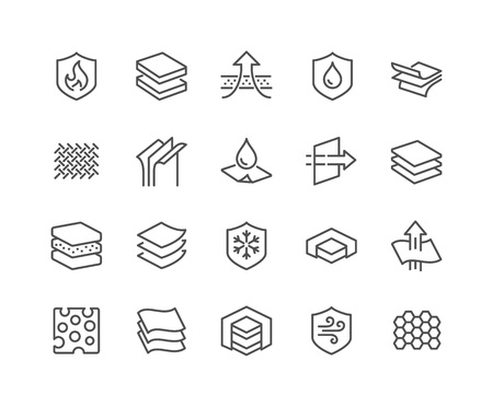 Simple Set of Layered Material Related Vector Line Icons. Contains such Icons as Waterproof, Wind Protection, Fabric Layers and more. Editable Stroke. 48x48 Pixel Perfect. Vectores