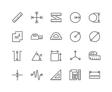 48x48: Simple Set of Measure Related Vector Line Icons. Contains such Icons as Radius, Diameter, Depth, Axis, Area and more. Editable Stroke. 48x48 Pixel Perfect.