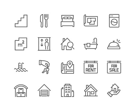 Prosty zestaw nieruchomości związanych Vector Linia Ikon. Zawiera takie ikony w formie mapy, planu, Sypialnie, obszaru, Bell i więcej. Edytowalne Stroke. 48x48 pikseli Idealny.