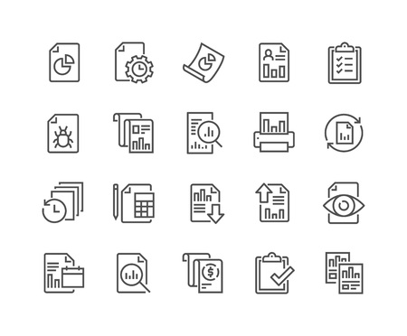 48x48: Simple Set of Report Related Vector Line Icons. Contains such Icons as Auto Reports, Calculation, Settings, Generate and more. Editable Stroke. 48x48 Pixel Perfect. Illustration