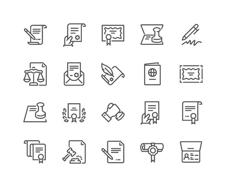 Simple Set of Legal Documents Related Vector Line Icons. Contains such Icons as Stamp, Certificate, License more. Editable Stroke. 48x48 Pixel Perfect. Illustration