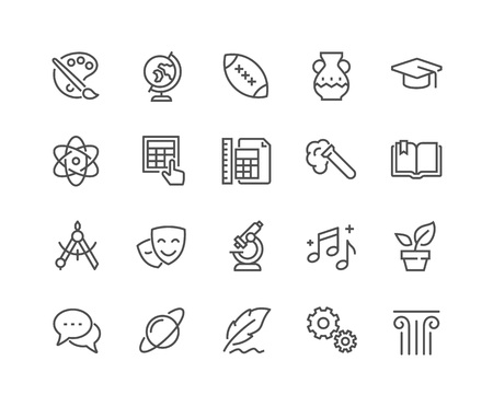 Conjunto simple de temas de la escuela Iconos relacionados con la línea del vector. Contiene iconos como Historia, Matemáticas, Biología, Química, Geometría y más. Editable Stroke. 48x48 Pixel Perfecto.