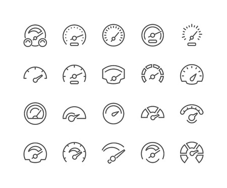 technology symbols metaphors: Simple Set of Speedometer Related Vector Line Icons. Contains such Icons as Car Speedometer, Odometer, Dashboard and more. Editable Stroke. 48x48 Pixel Perfect.