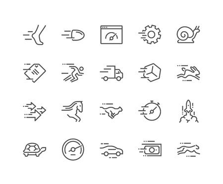 Semplice insieme di vettori velocità relativa linea di icone. Contiene icone come Ghepardo, Chiocciola, Corriere Espresso, Rocket, Race e altro ancora. Stroke modificabile. 48x48 Pixel Perfect.