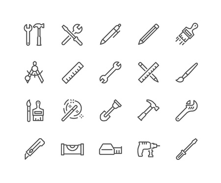 48x48: Simple Set of Tools Related Vector Line Icons. Contains such Icons as Wrench, Pen, Screw, Hammer and more. Editable Stroke. 48x48 Pixel Perfect.