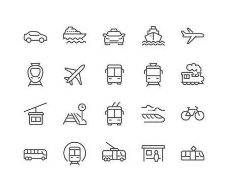 単純な一連の公共交通機関の関連するベクトル線アイコン。タクシー、鉄道、路面電車などのアイコンが含まれています。編集可能なストローク。48